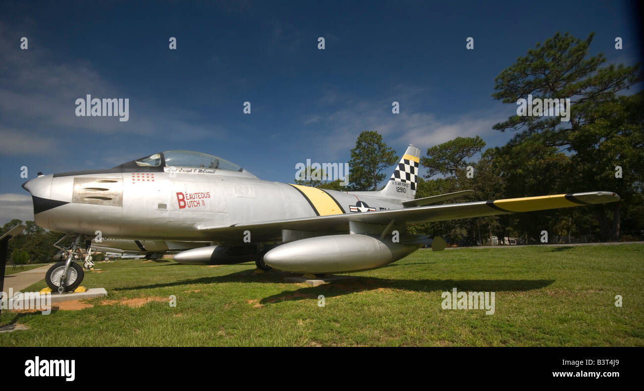 A North American F-86 Sabre jet on static display at Air Force Armament Museum, Eglin AFB, Florida - Stock Image