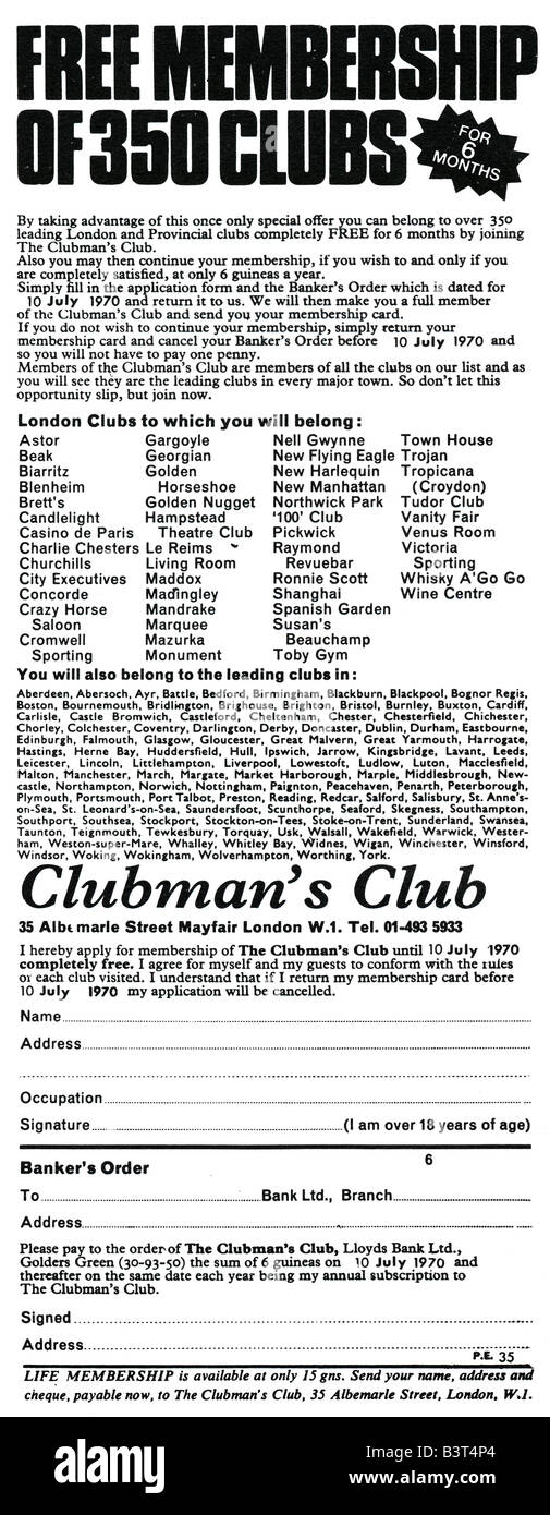 The Clubman's Club Advertisement January 1970. FOR EDITORIAL USE ONLY - Stock Image