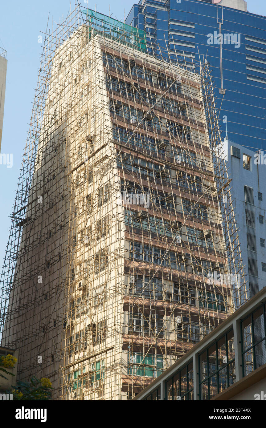 New building covered with bamboo scaffolding Hong Kong Hong Kong August 2008 Stock Photo