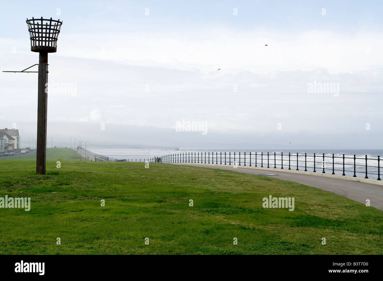 A coastal beacon which is located on the Hartlepool town moor with the northeast coast in the background and the - Stock Image