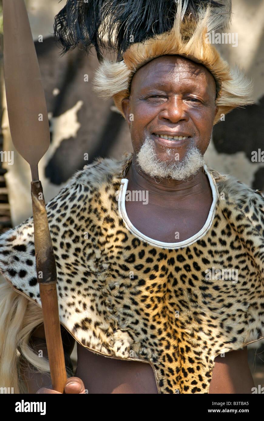 Africa, South Africa, KwaZulu Natal, Shakaland, Zulu chief (MR) - Stock Image