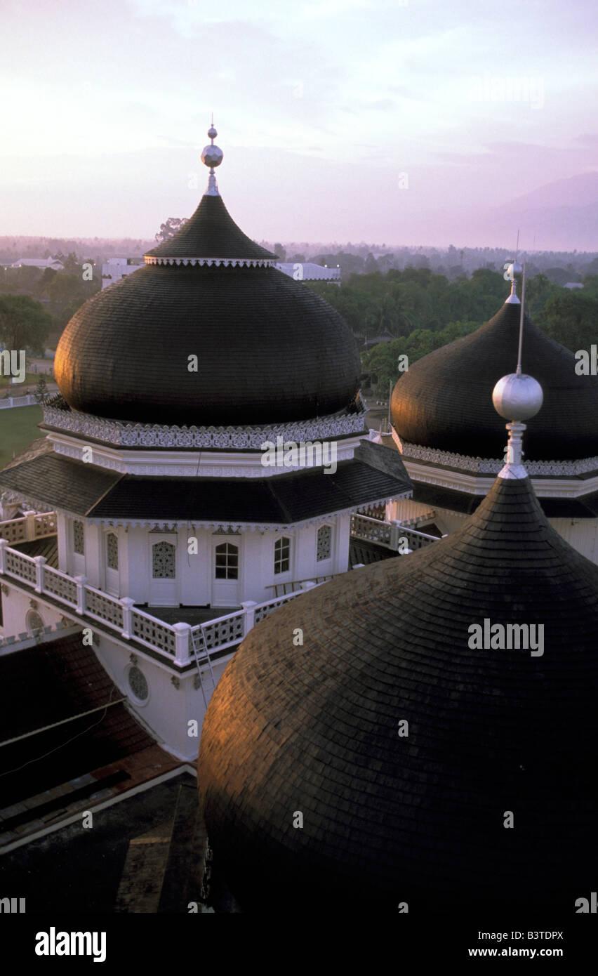 Oceania, Indonesia, Sumatra, Banda Aceh. Grand Mosque. Stock Photo
