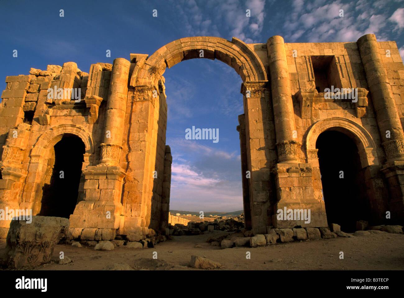 Asia, Jordan, Jerash. Arch of triumph, honoring Hadrian. - Stock Image