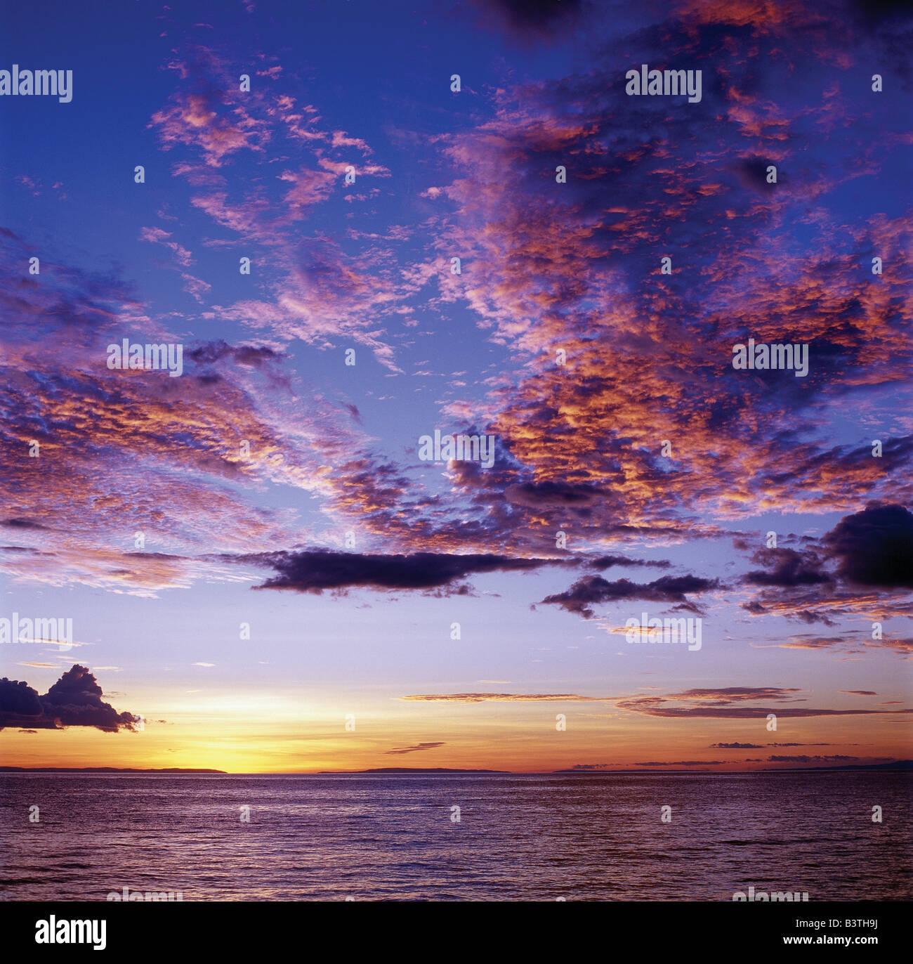 Tanzania, Kigoma, Sunset over Lake Tanganyika.Lake Tanganyika, an immense inland sea set in a long, low, deep trough Stock Photo