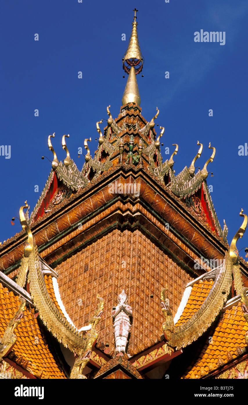 Asia, Thailand, Chiangmai. Ornate roofline, Wat Buparam. Stock Photo