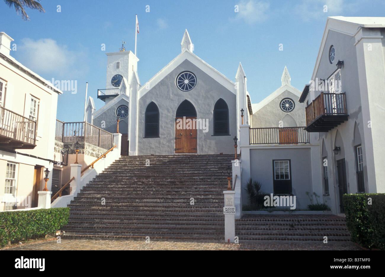 St Peter's Church, Duke Of York Street, St George, Bermuda - Stock Image