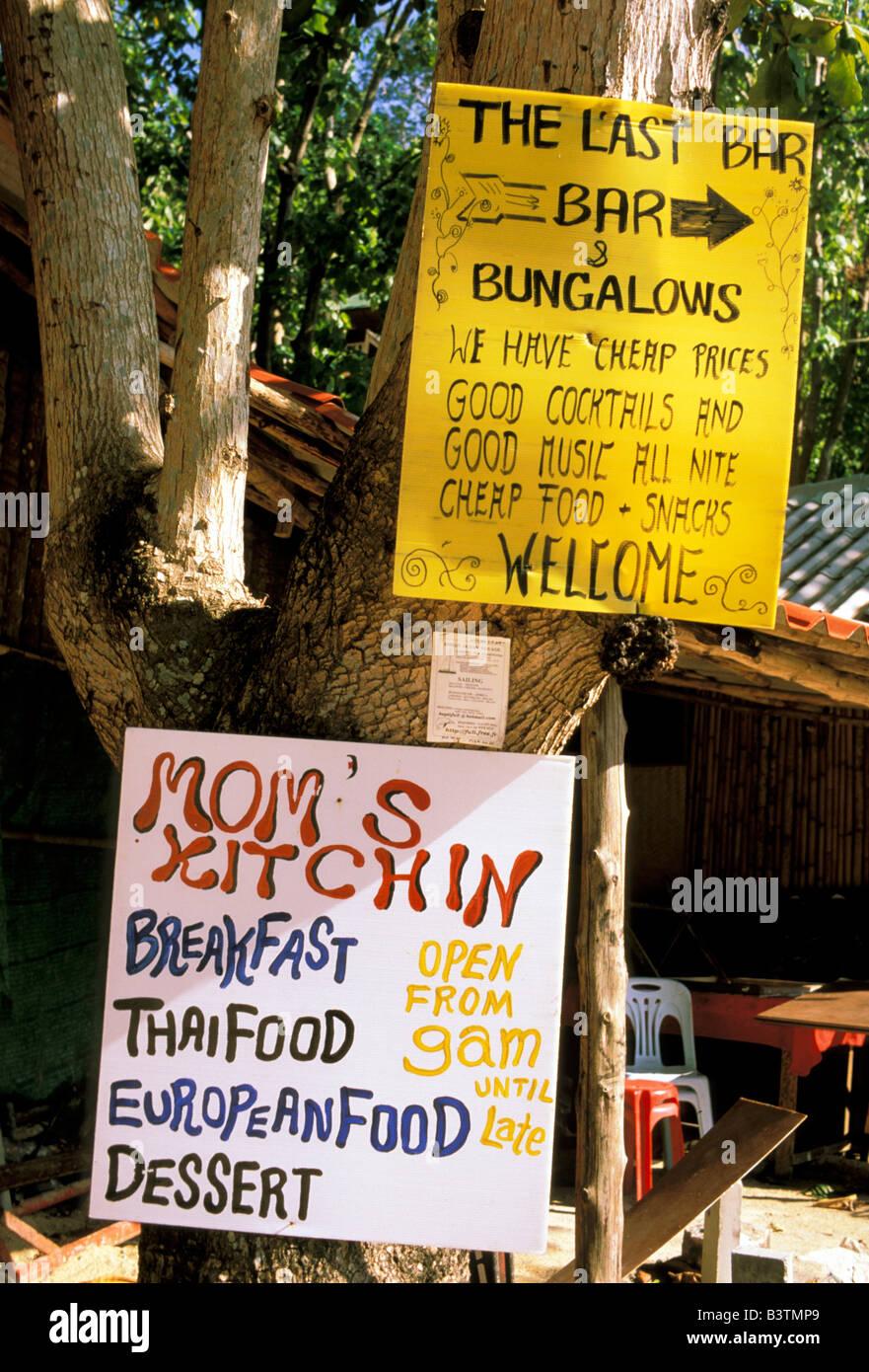 Asia Thailand Krabi East Railay Beach Restaurant Sign