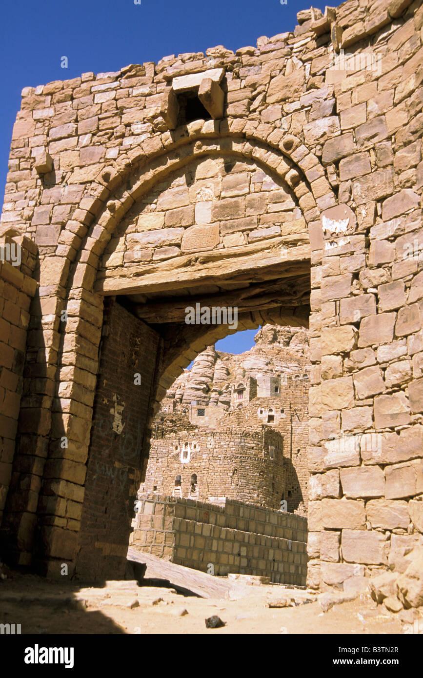 Asia, Yemen, Thilla. Gate of the city. - Stock Image