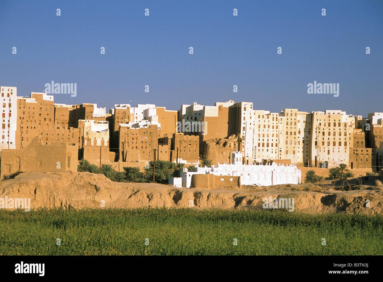 Asia, Yemen, Shibam. Manhattan of desert - Stock Image