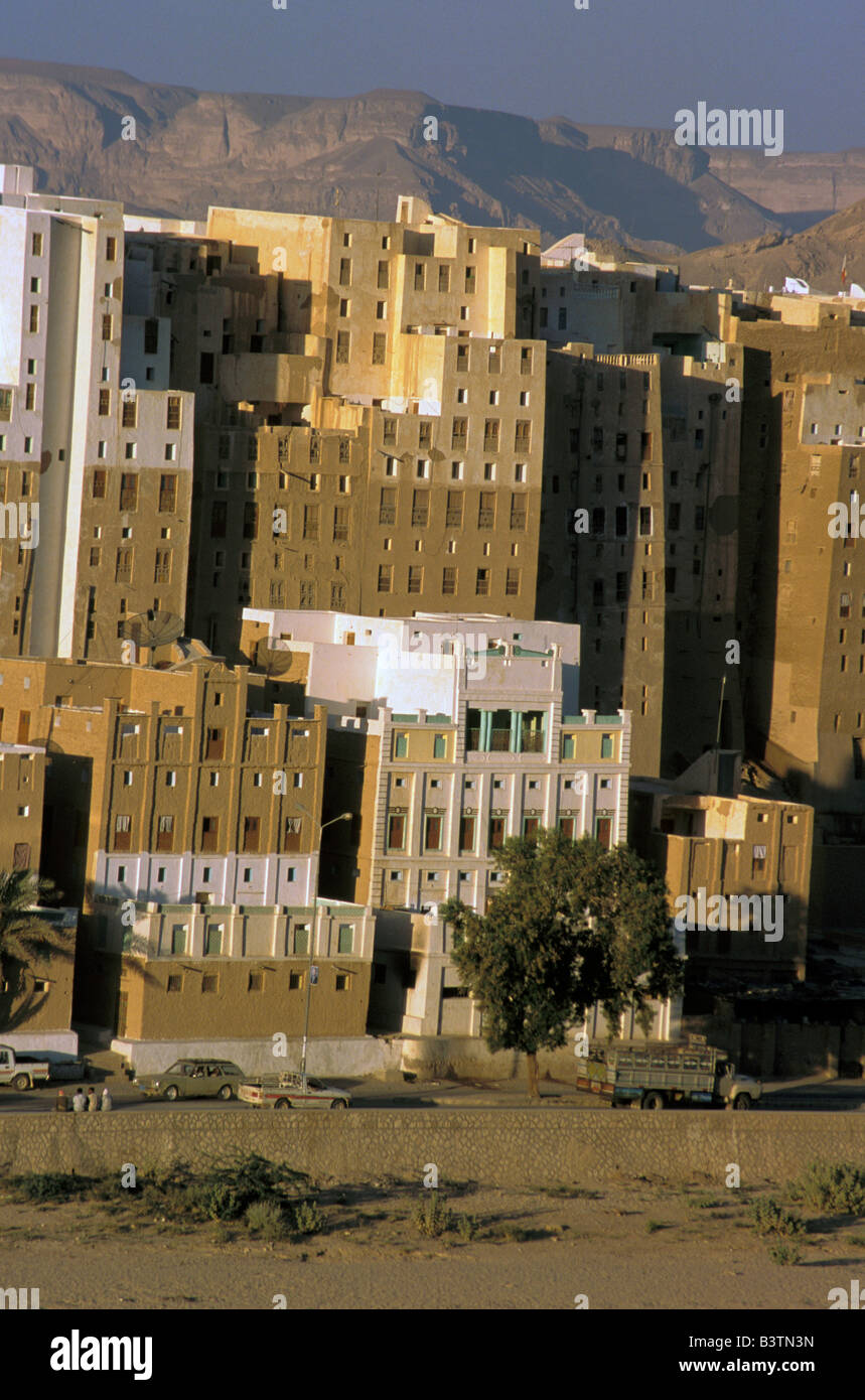 Asia, Yemen, Shibam. Manhattan of desert - Stock Image