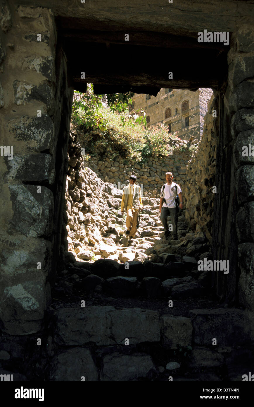 Asia, Yemen, Kahil. Kahil's gate entrance. - Stock Image