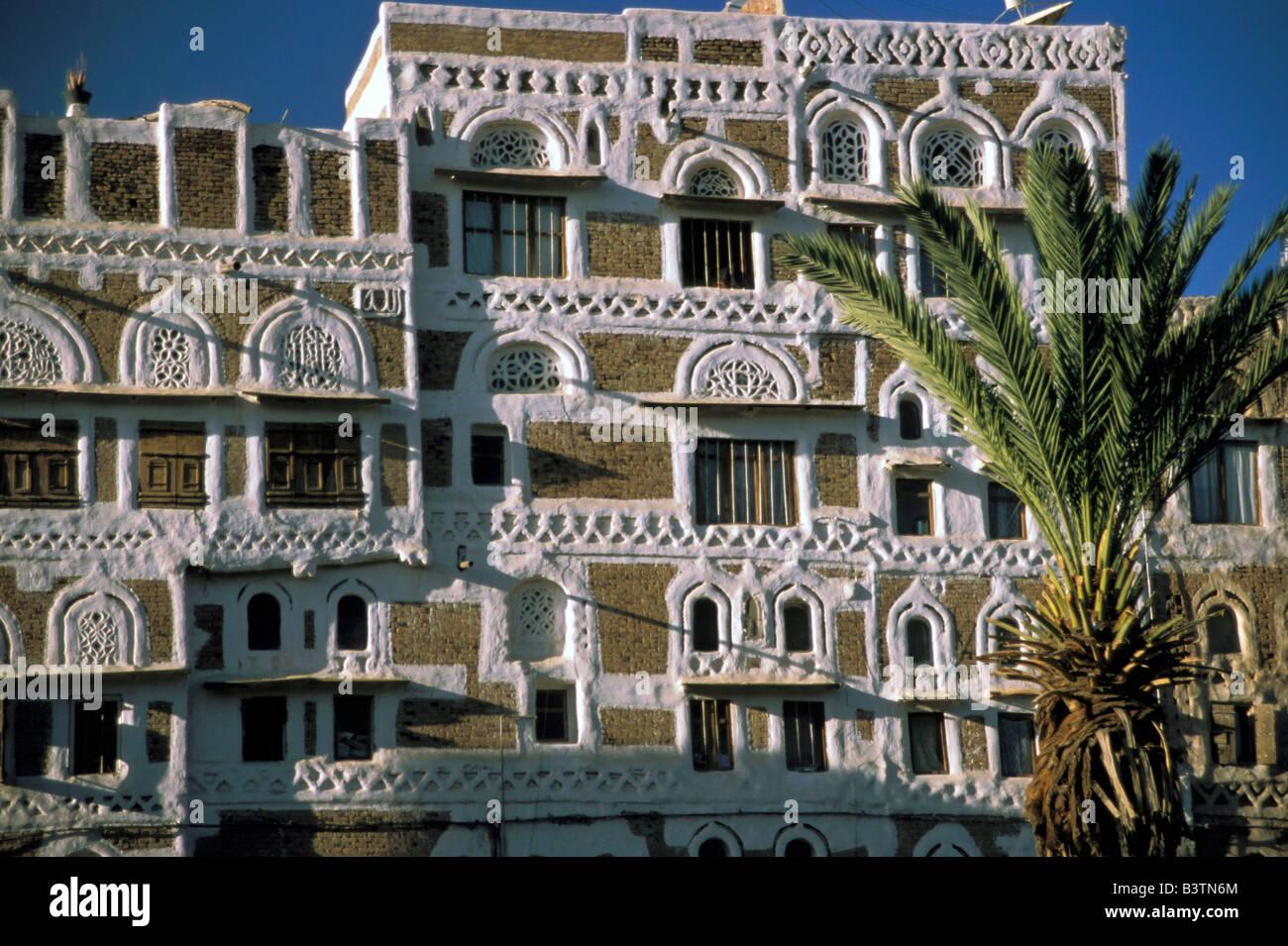 Asia, Yemen, Sana'a. Yemeni house. - Stock Image
