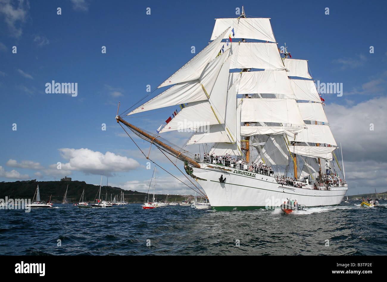 Start of the Tall Ships Race 2008 off Pendennis Point, Falmouth Cornwall, UK - Stock Image
