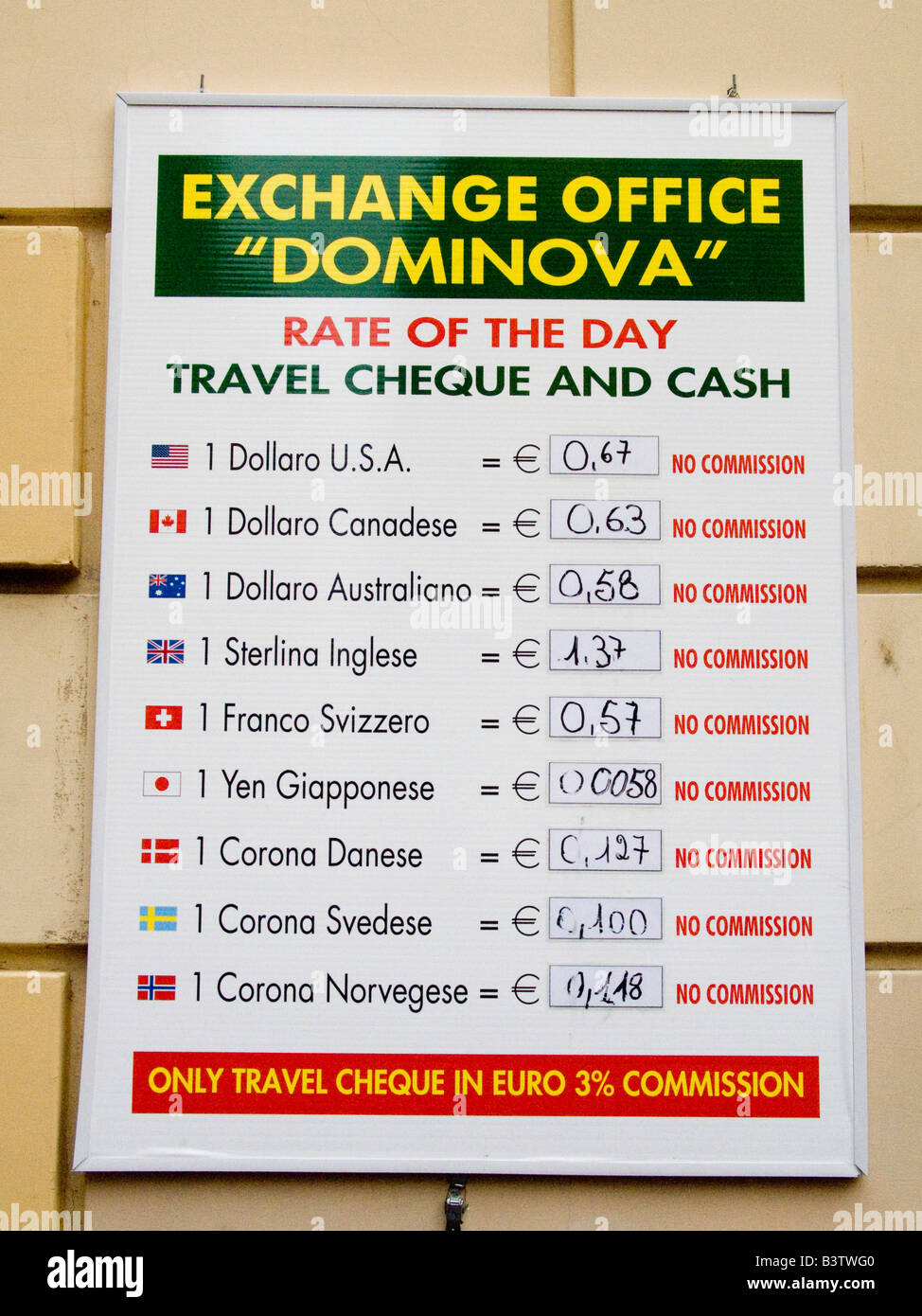Europe, Italy, Sorrento. Sign posting currency exchange rates for the day. Stock Photo