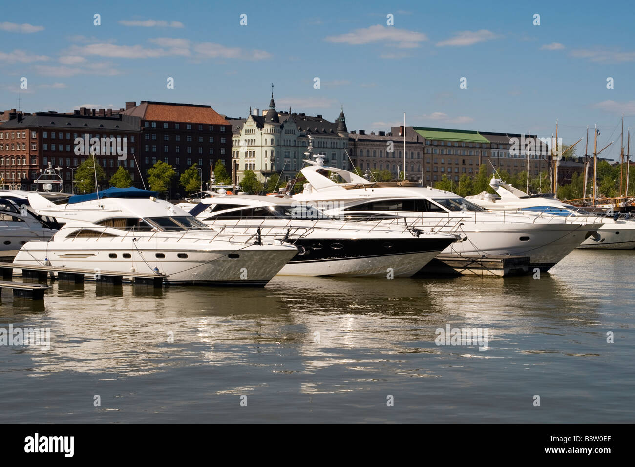 Speedboats berthed at marina in Helsinki North harbour, Finland - Stock Image