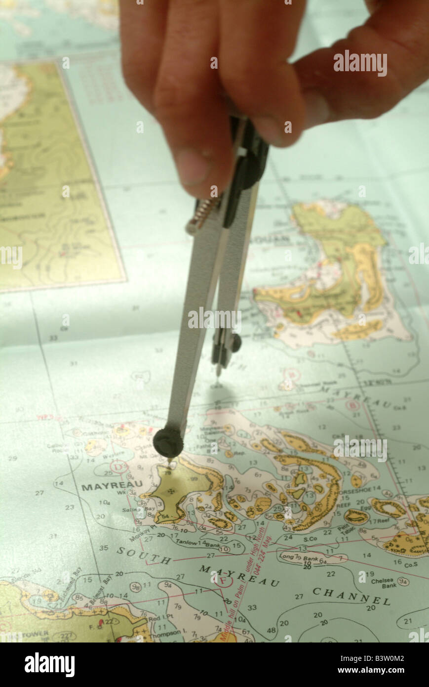 Caribbean West Indies Grenadines Planning a course on a chart with measuring tools - Stock Image