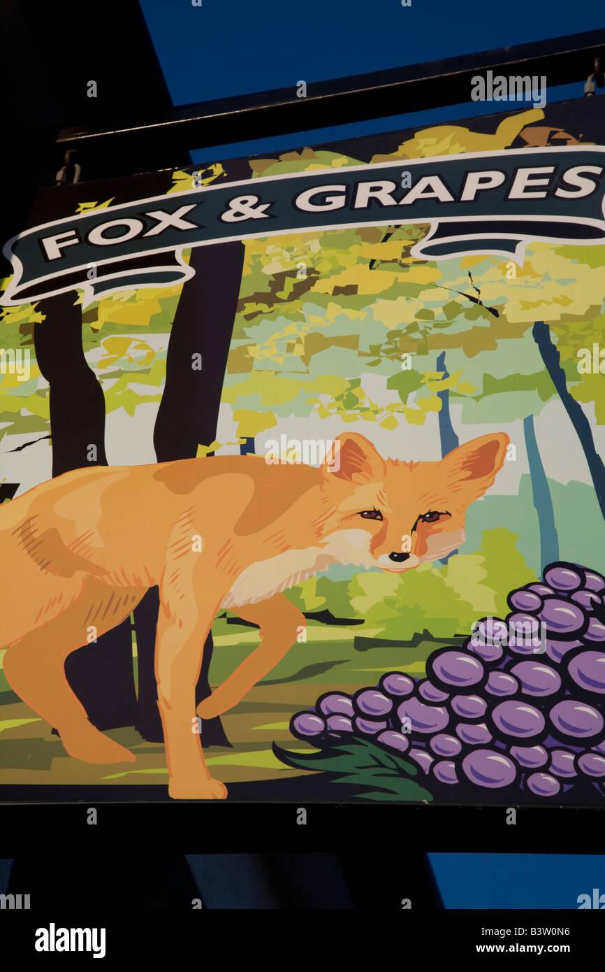 Fox and Grapes pub sign, Wimbledon Common, London - Stock Image