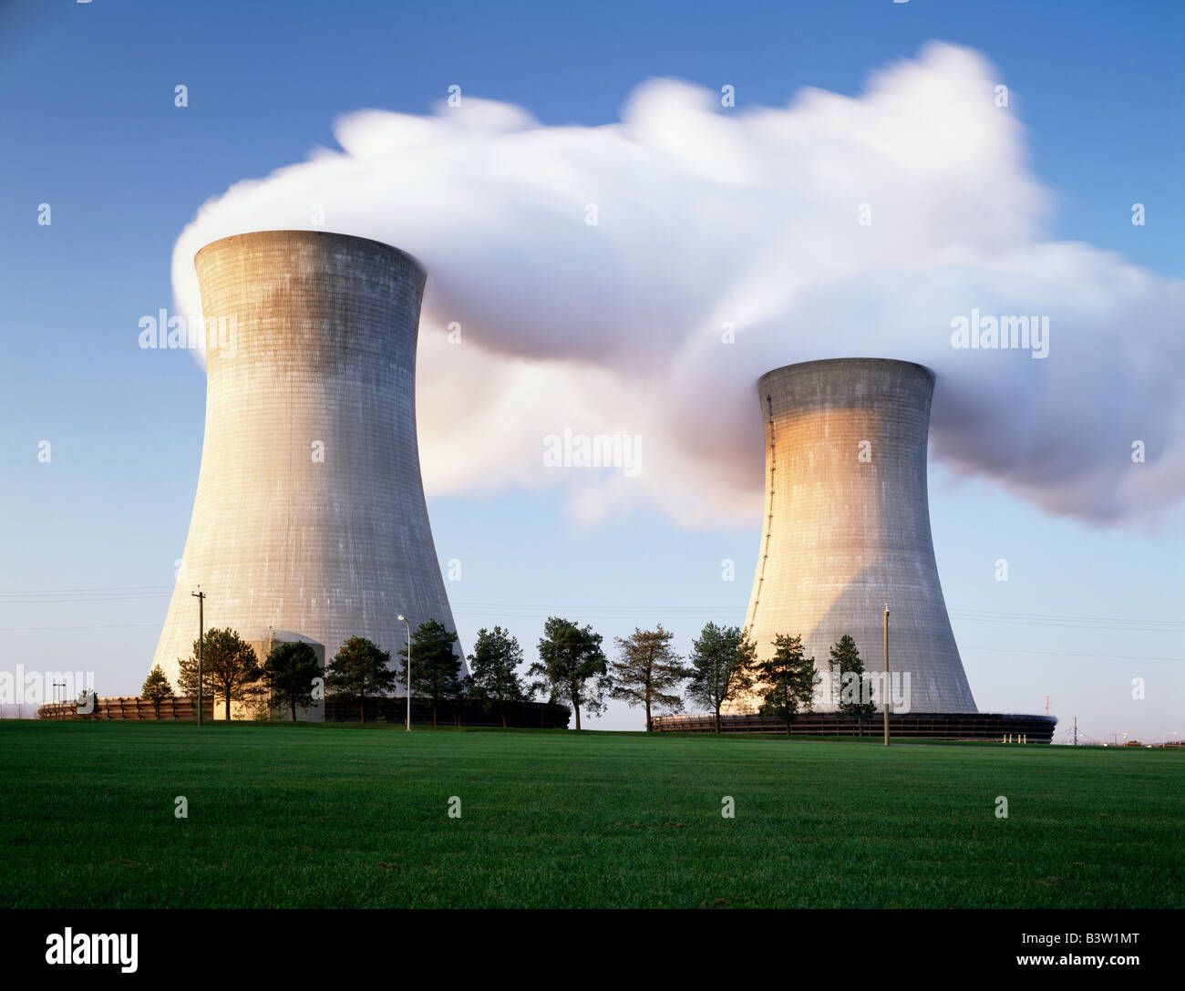 STEAM AND COOLING TOWERS OF A NUCLEAR POWER PLANT Stock Photo