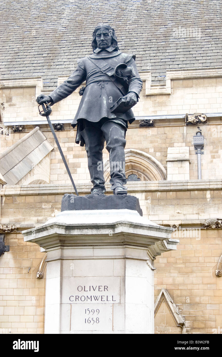Statue to Lord Protector Oliver Cromwell 1599-1658 in the grounds of the Westminster Parliament in London, England, Stock Photo