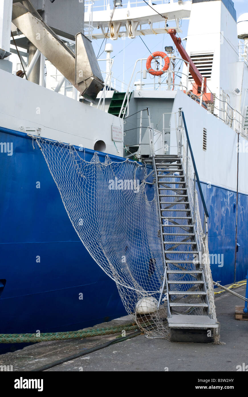 Gangway With Handrails And Safety Net Onto Large