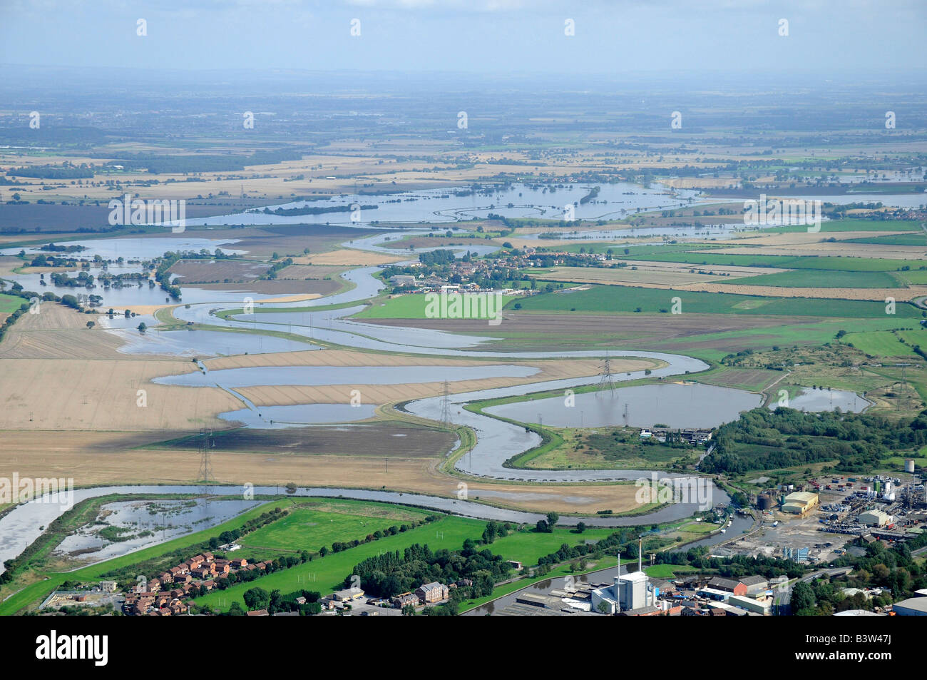 Summer Flooding of the River Aire, Knottingley. West Yorksire, Northern England - Stock Image