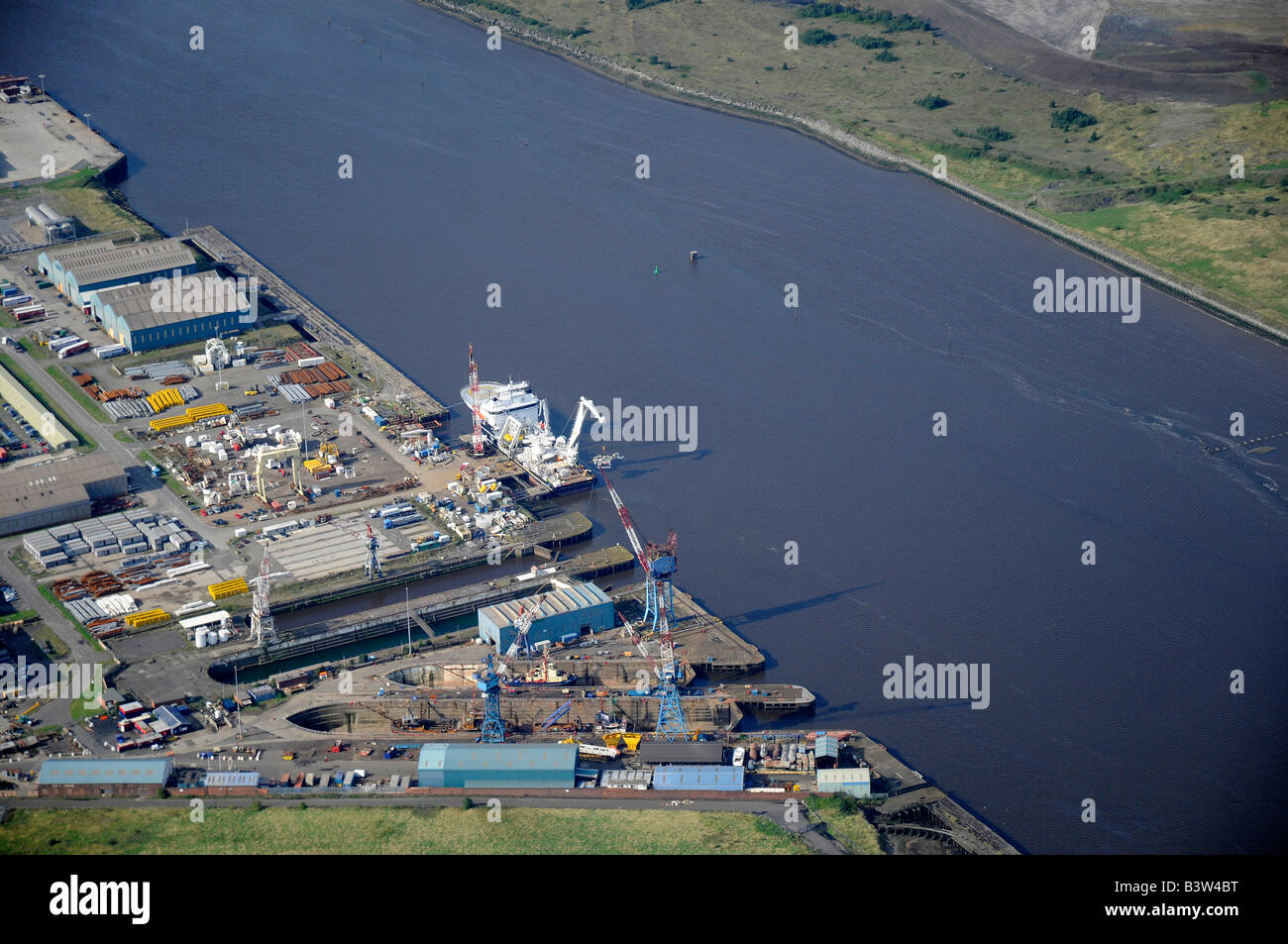 Ship yard on the River Tees, from the air, Teeside, Northern England - Stock Image