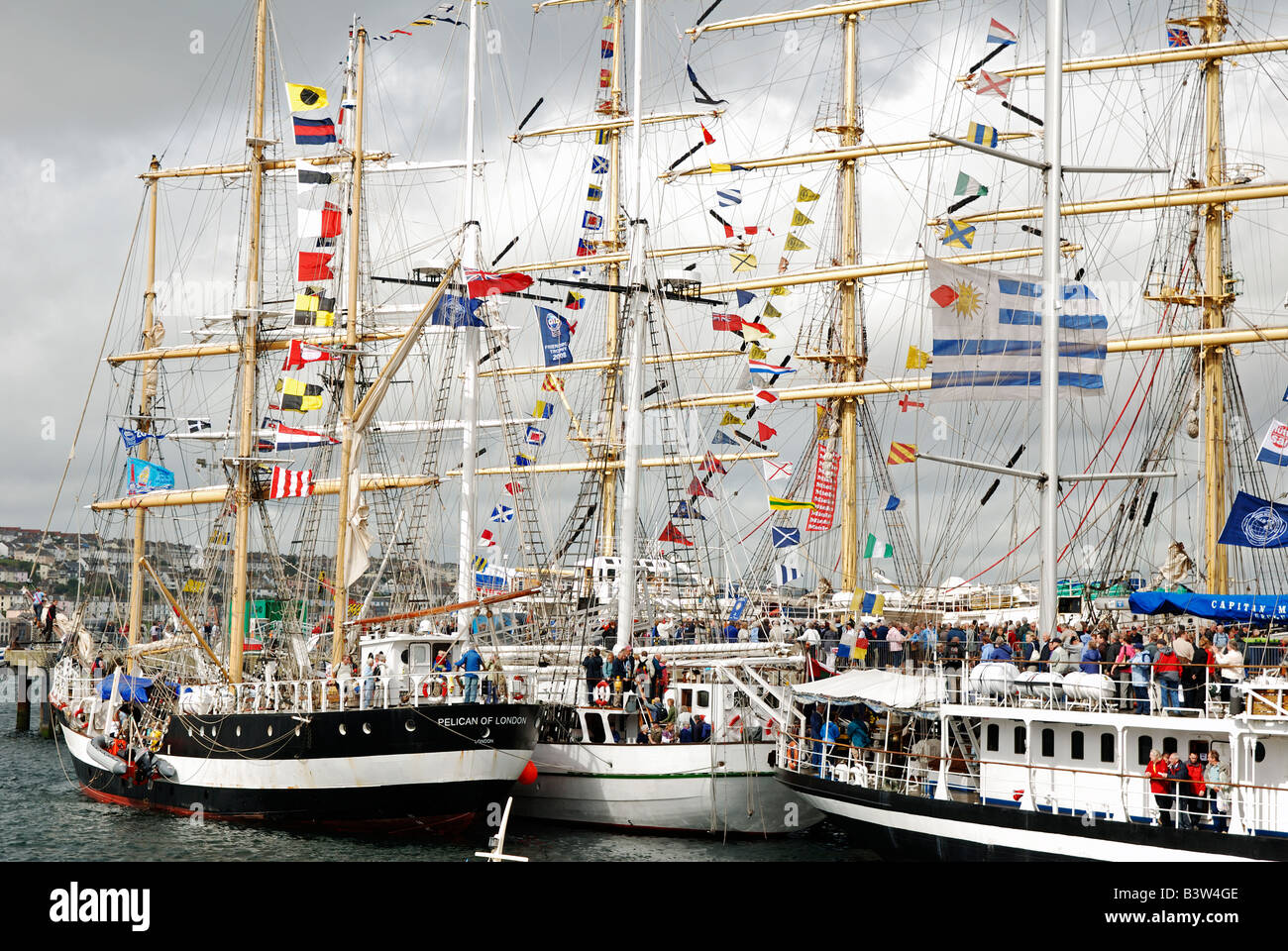 tall ships in falmouth harbour,cornwall,uk prior to the 'funchal 500 tall ships regatta' - Stock Image