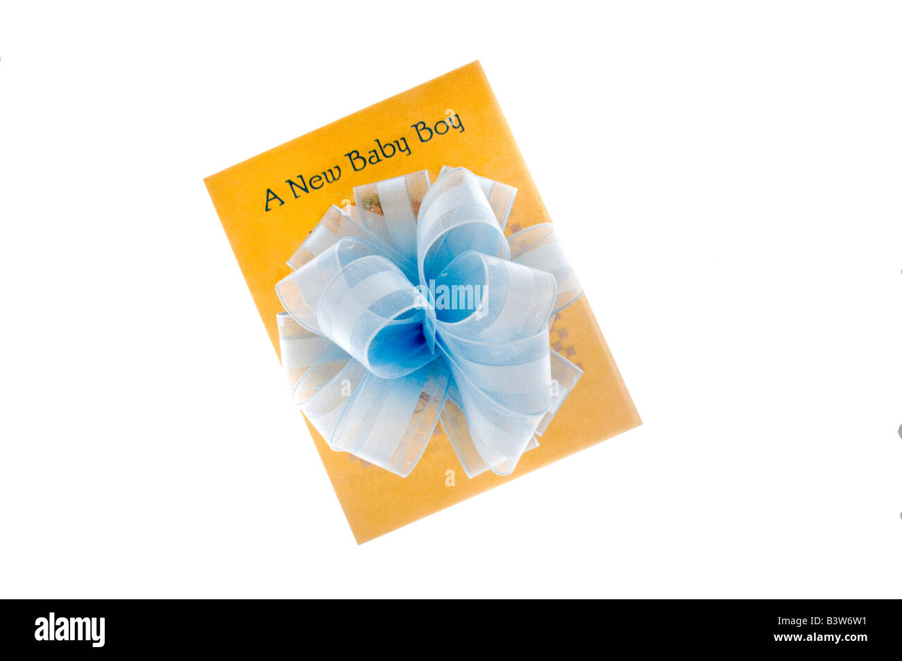Baby boy card and blue bow on white - Stock Image