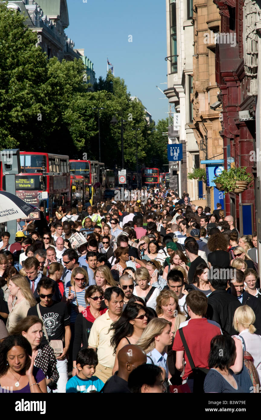 Large crowd of shoppers on Oxford Street London England UK - Stock Image