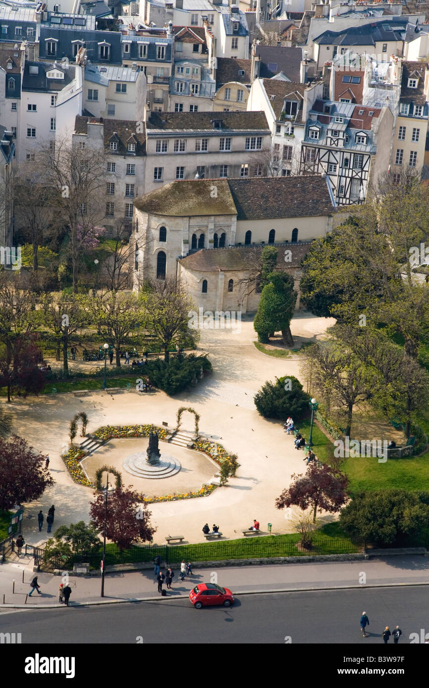 Aerial view of Left Bank Latin Quarter St Julien-le-Pauvre  Paris from Notre Dame Cathedral in spring sunshine France - Stock Image