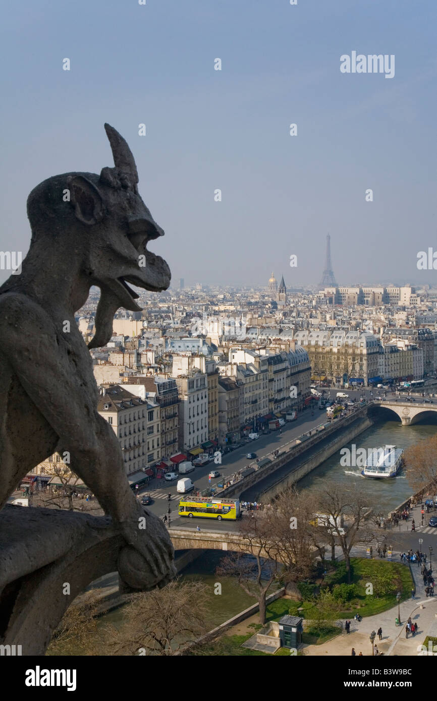 View of Paris from the Chimera Gallery with gargoyles Notre Dame Cathedral and River Seine in spring sunshine France - Stock Image