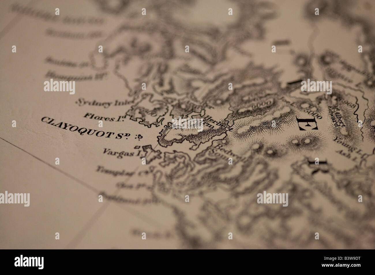 Vintage map, Clayoquot Sound, British Columbia, Canada - Stock Image