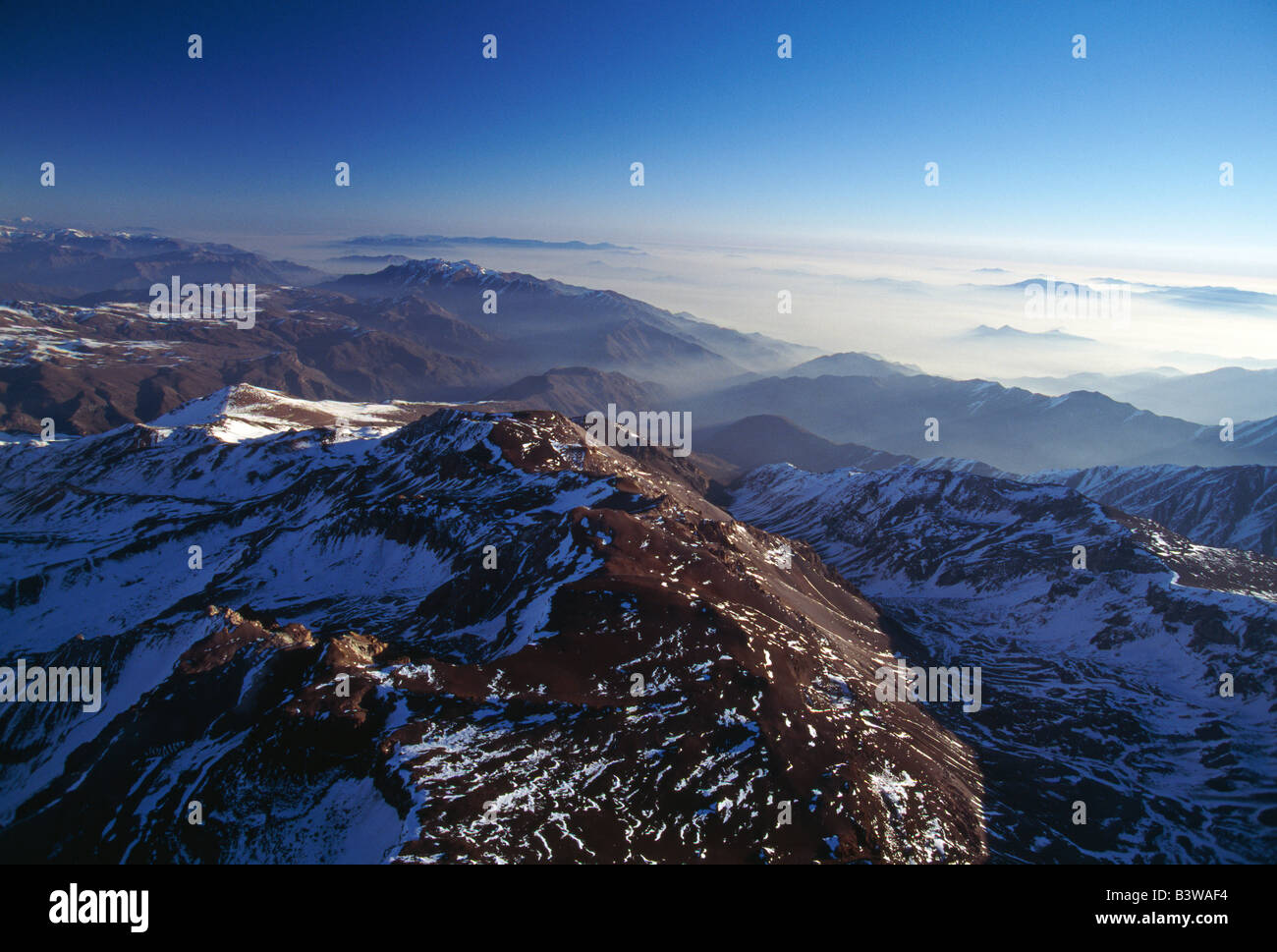 Aerial view of Andes Mountains north east of Santiago, Chile Stock Photo