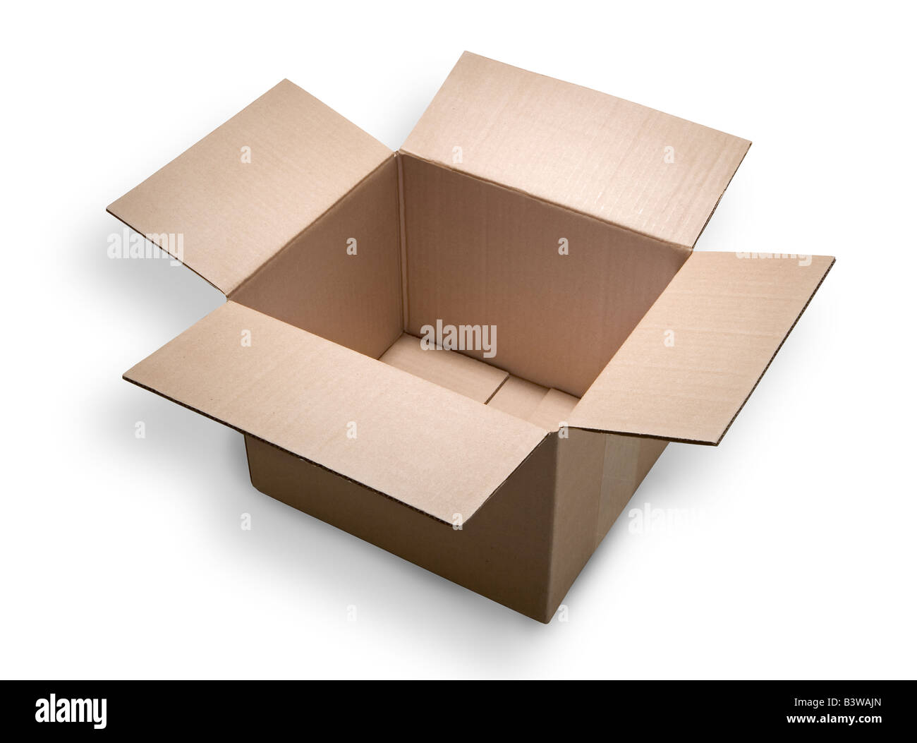 An empty and open cardboard box or carton on a white background Clipping path included - Stock Image