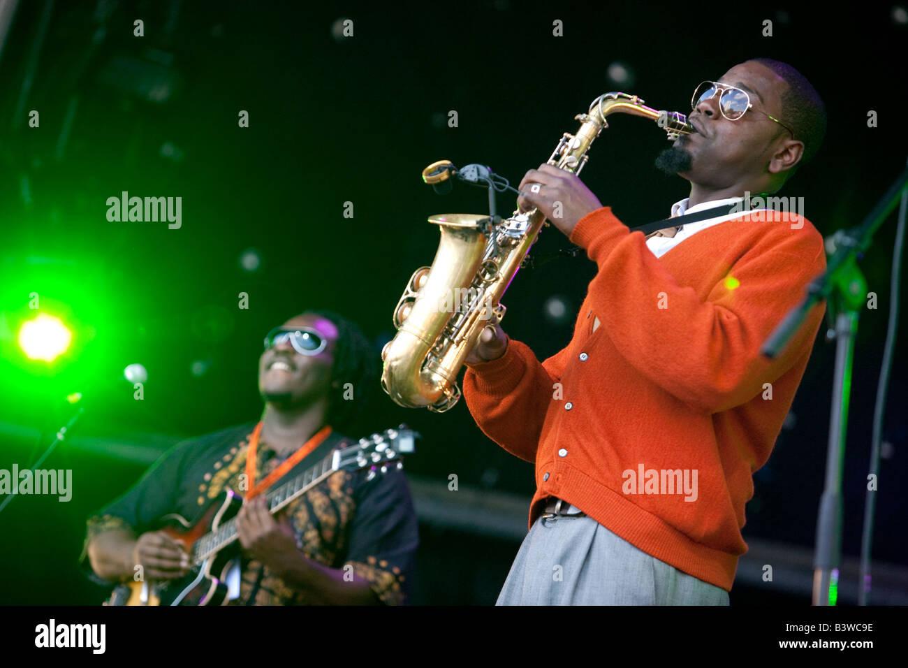 Jazz saxophonist Soweto Kinch Birmingham England UK - Stock Image