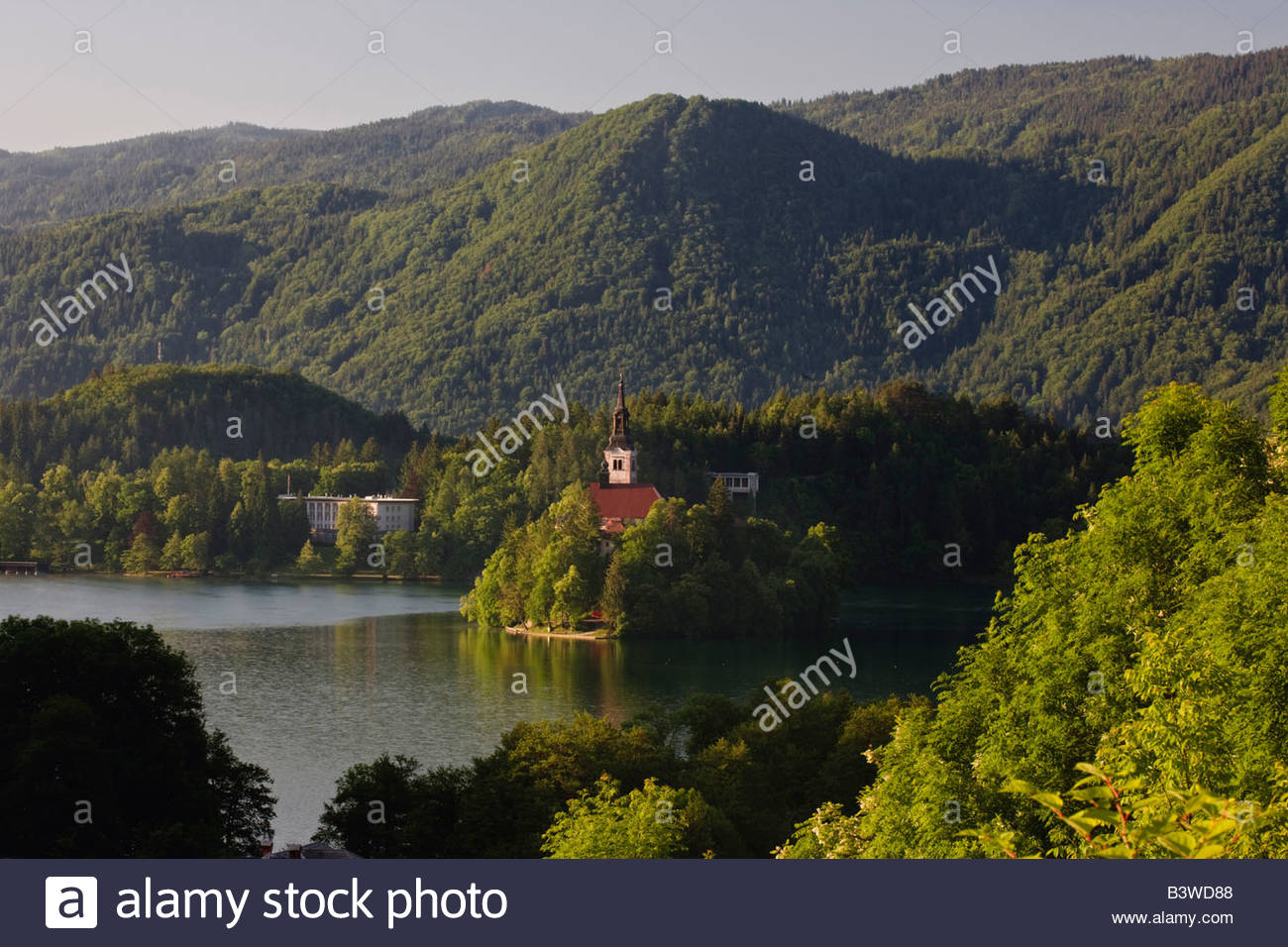 Lake Bled and the Assumption of Mary's Pilgrimage Church, Bled Slovenia - Stock Image
