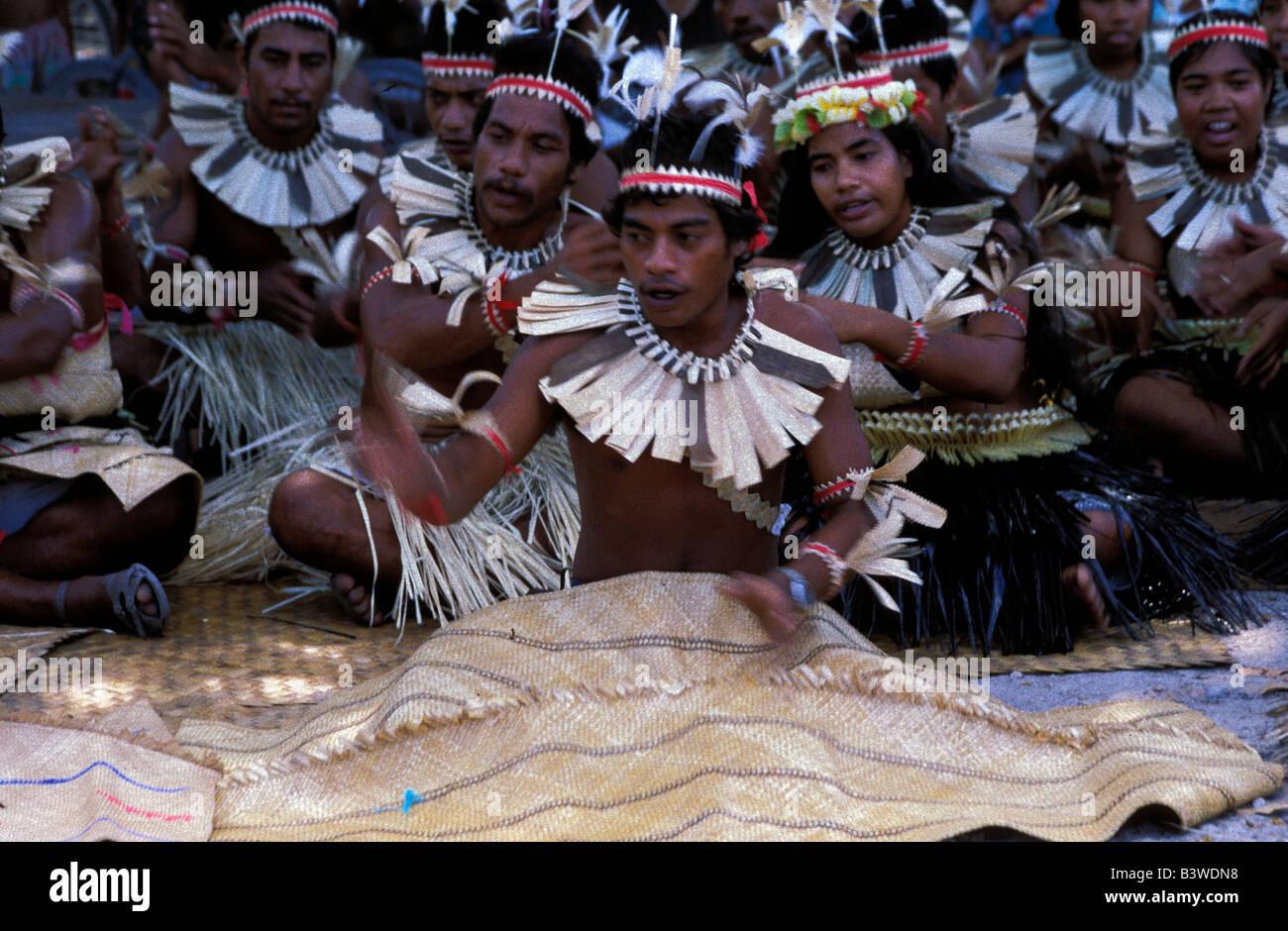 Oceania, Fanning Island, Kiribati. Residents in traditional costumes. - Stock Image