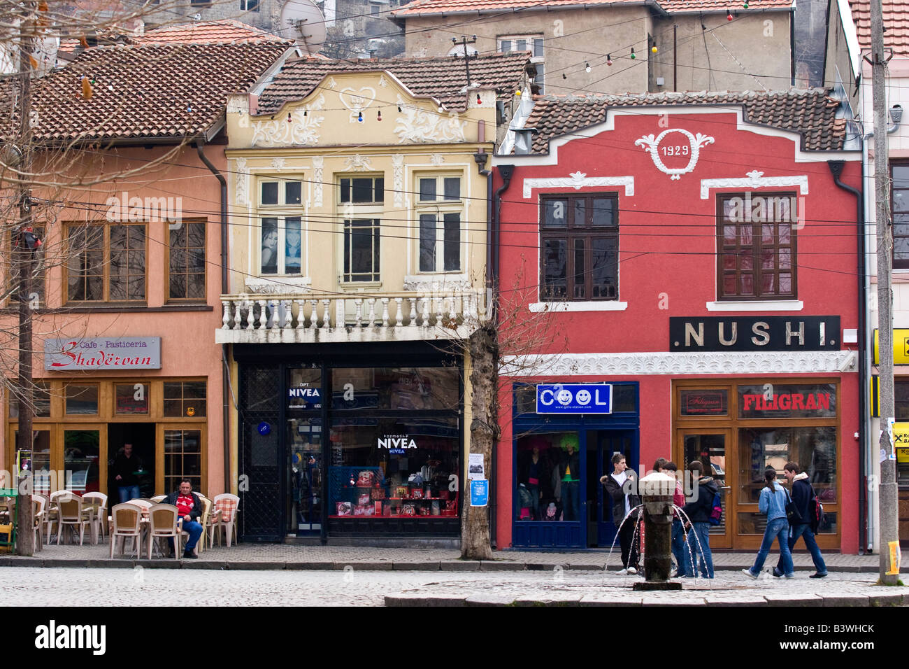 Restored old houses in the center of Prizren, Kosovo. Prizren is Kosovo's historical and cultural capital. - Stock Image