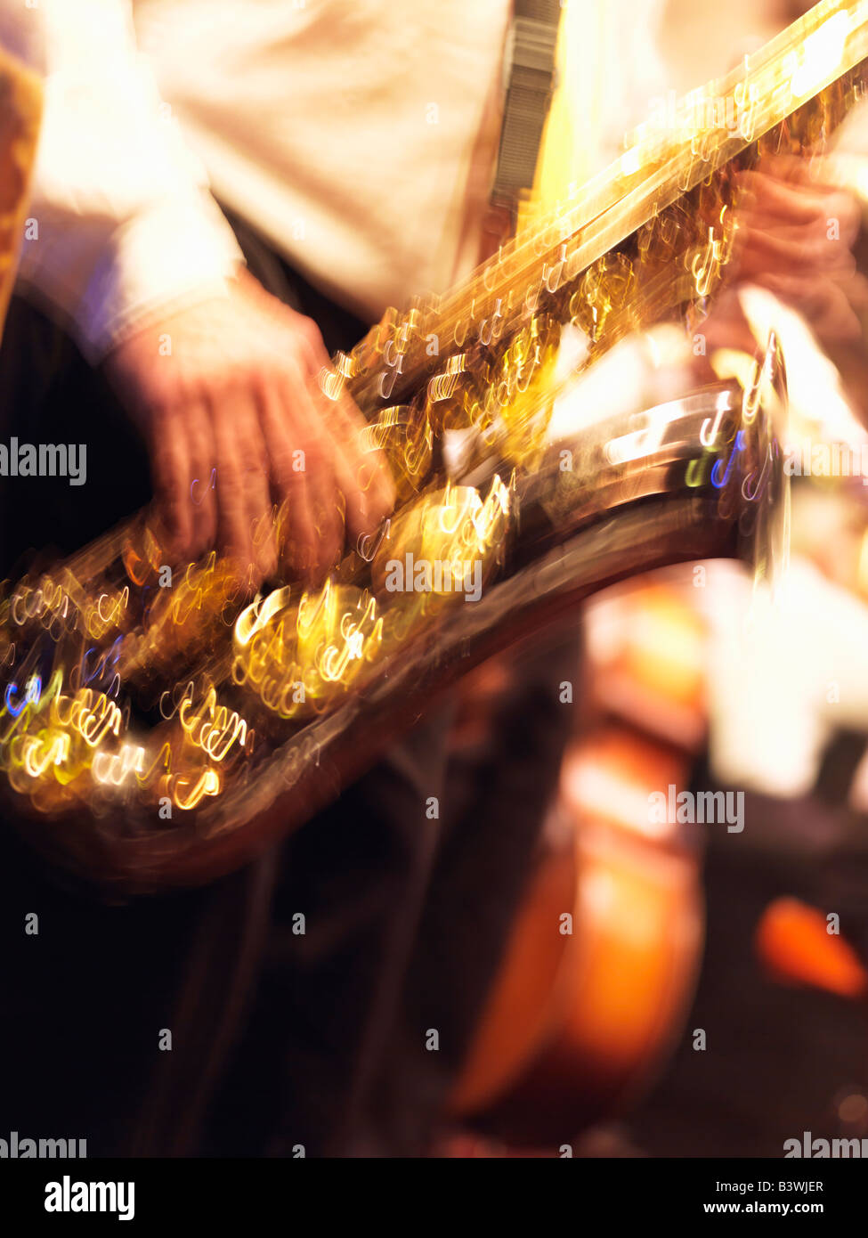 USA,Louisiana,New Orleans,French Quarter, jazz musician playing saxophone - Stock Image
