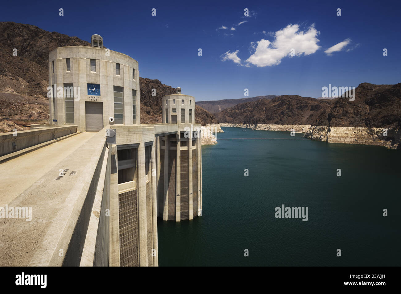 Intake towers at The Hoover Dam. Stock Photo
