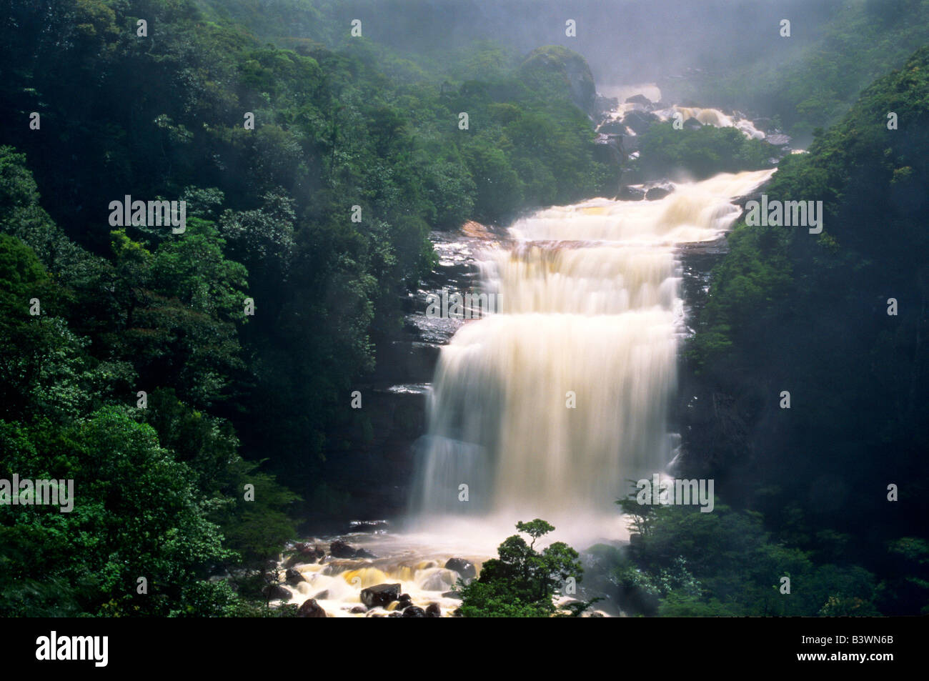 South America, Venezuela, Canaima National Park, Angel Falls. View of the base of the falls. - Stock Image