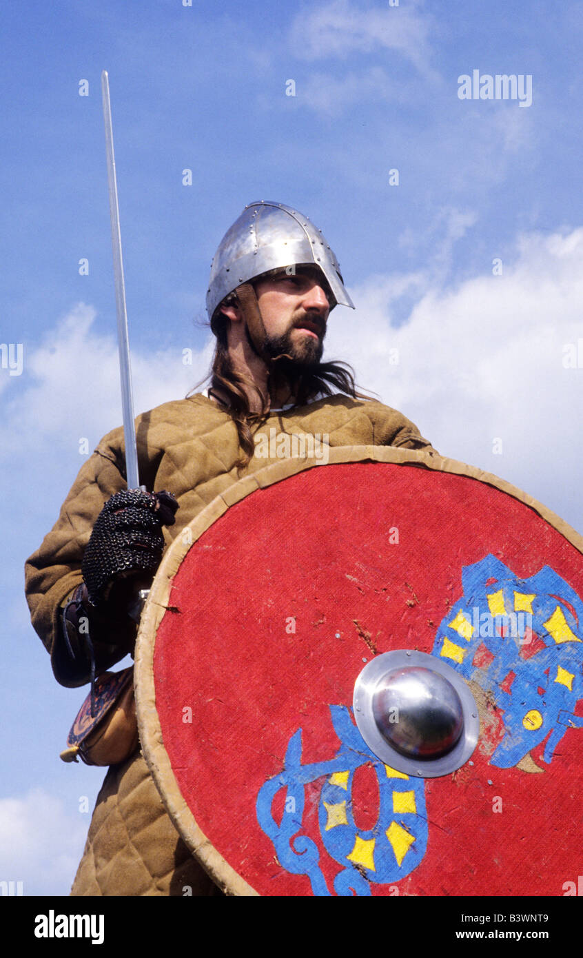 Viking Norse Saxon warrior Battle of Hastings historical re-enactment armed soldier sword shield arms weapon weapons - Stock Image
