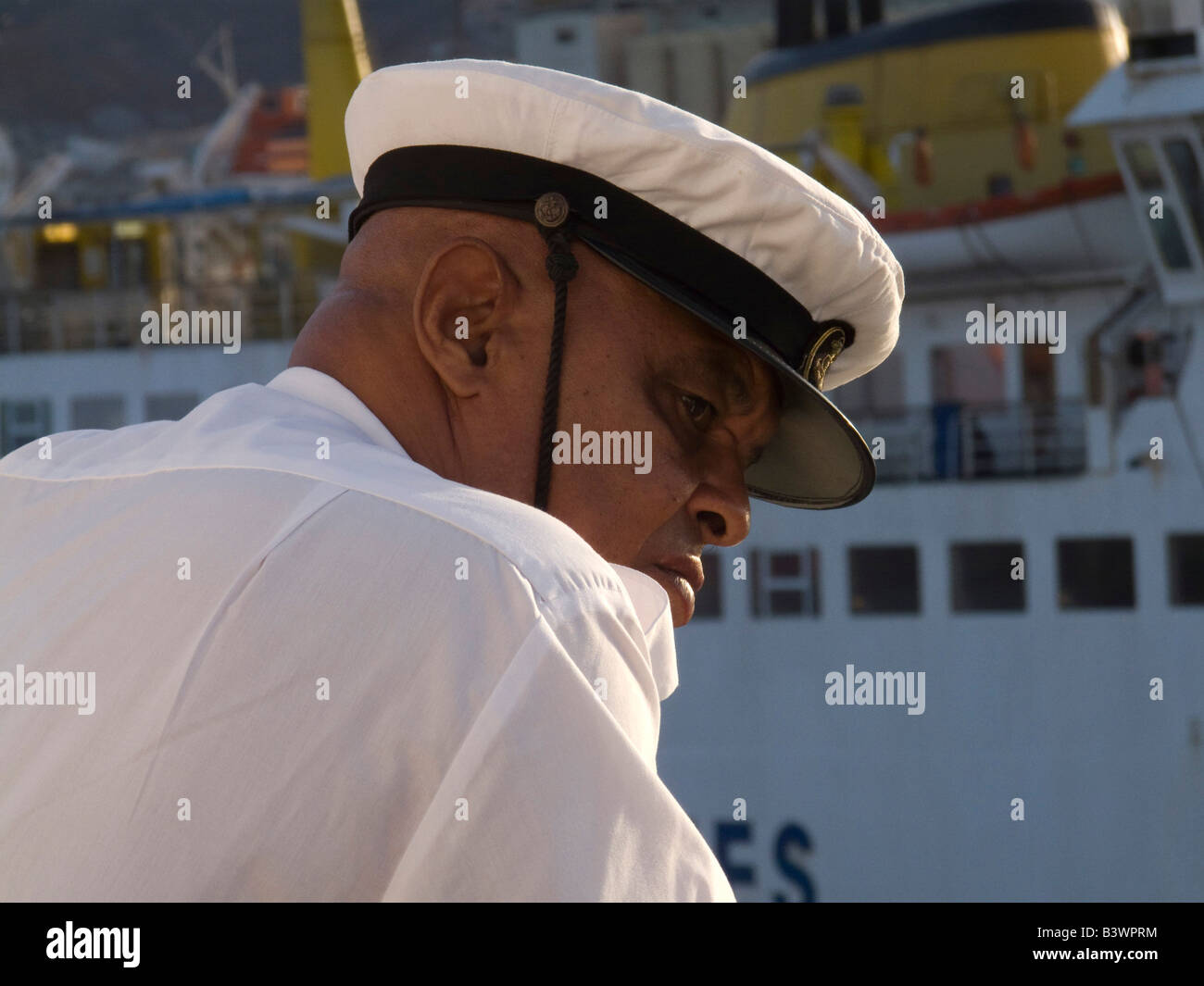 Rear view of a sea captain, Sao Vicente Island, Cape Verde - Stock Image