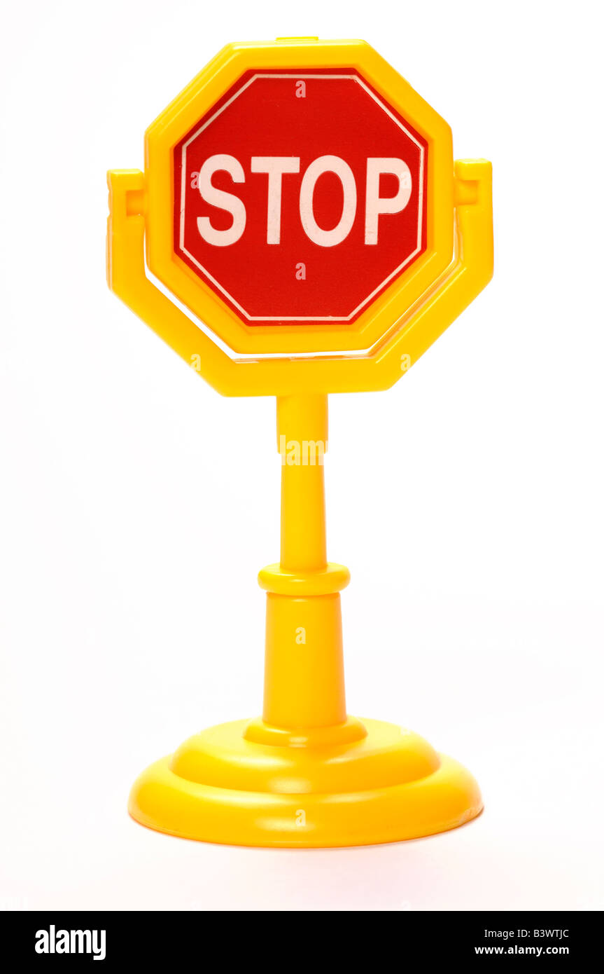 Plastic toy stop sign - Stock Image