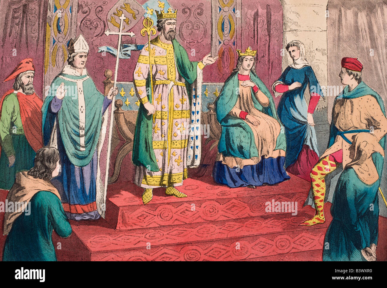 English costumes of the 13th century. From left, gentleman, physician, Bishop, King, Queen, Lady, nobleman, rustic. - Stock Image