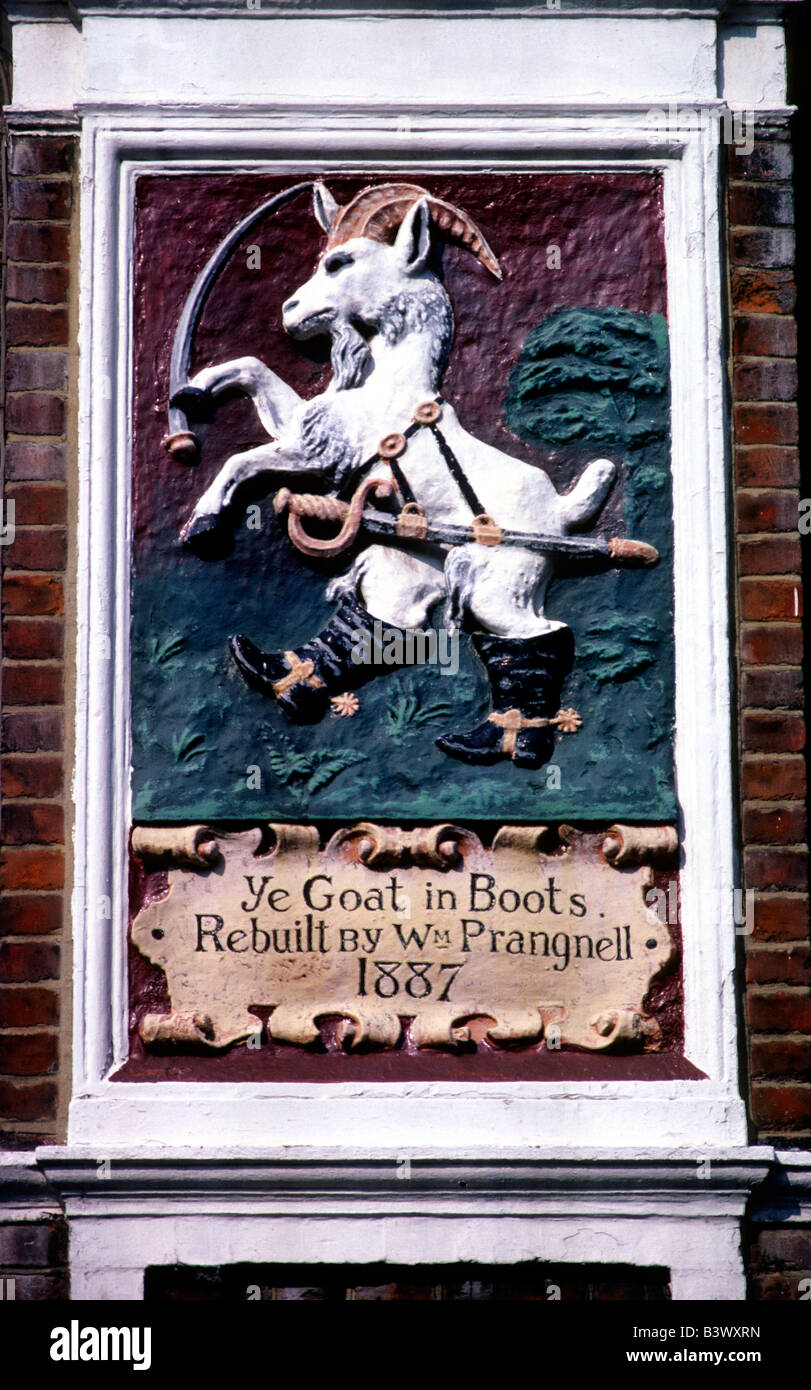 The Goat in Boots unusual rare Pub Sign Fulham Road London English Inn signs England UK - Stock Image