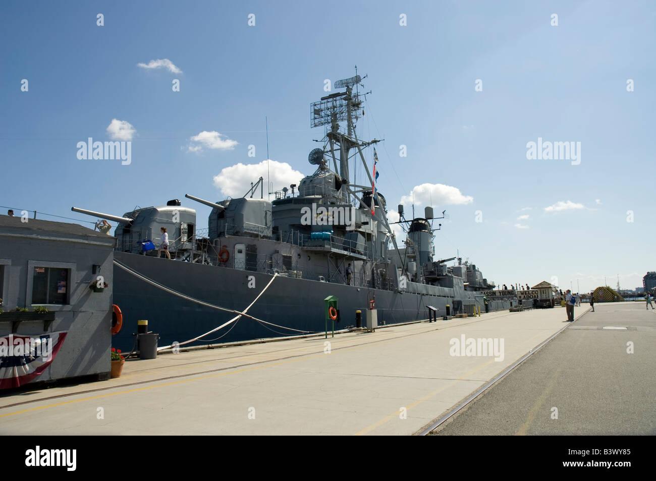 Navy ship USS Cassin Young,Boston, Mass, USA - Stock Image