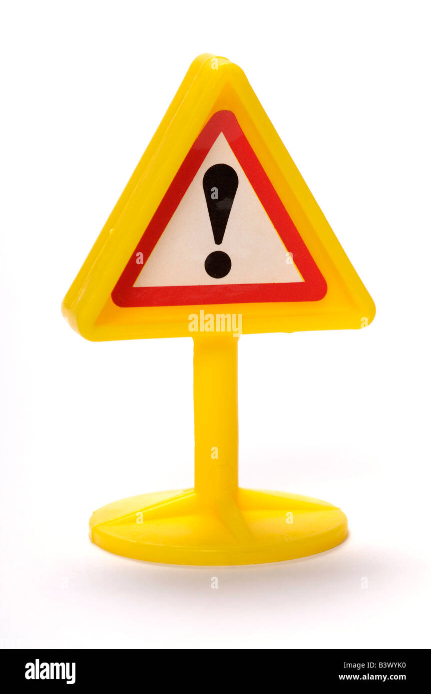 Plastic toy warning sign - Stock Image