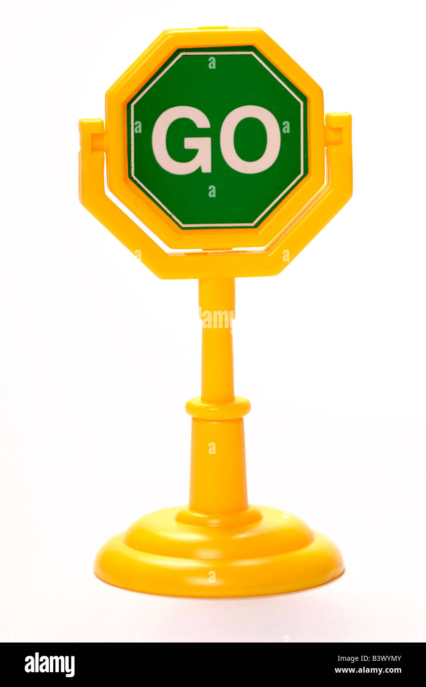 Plastic toy go sign - Stock Image