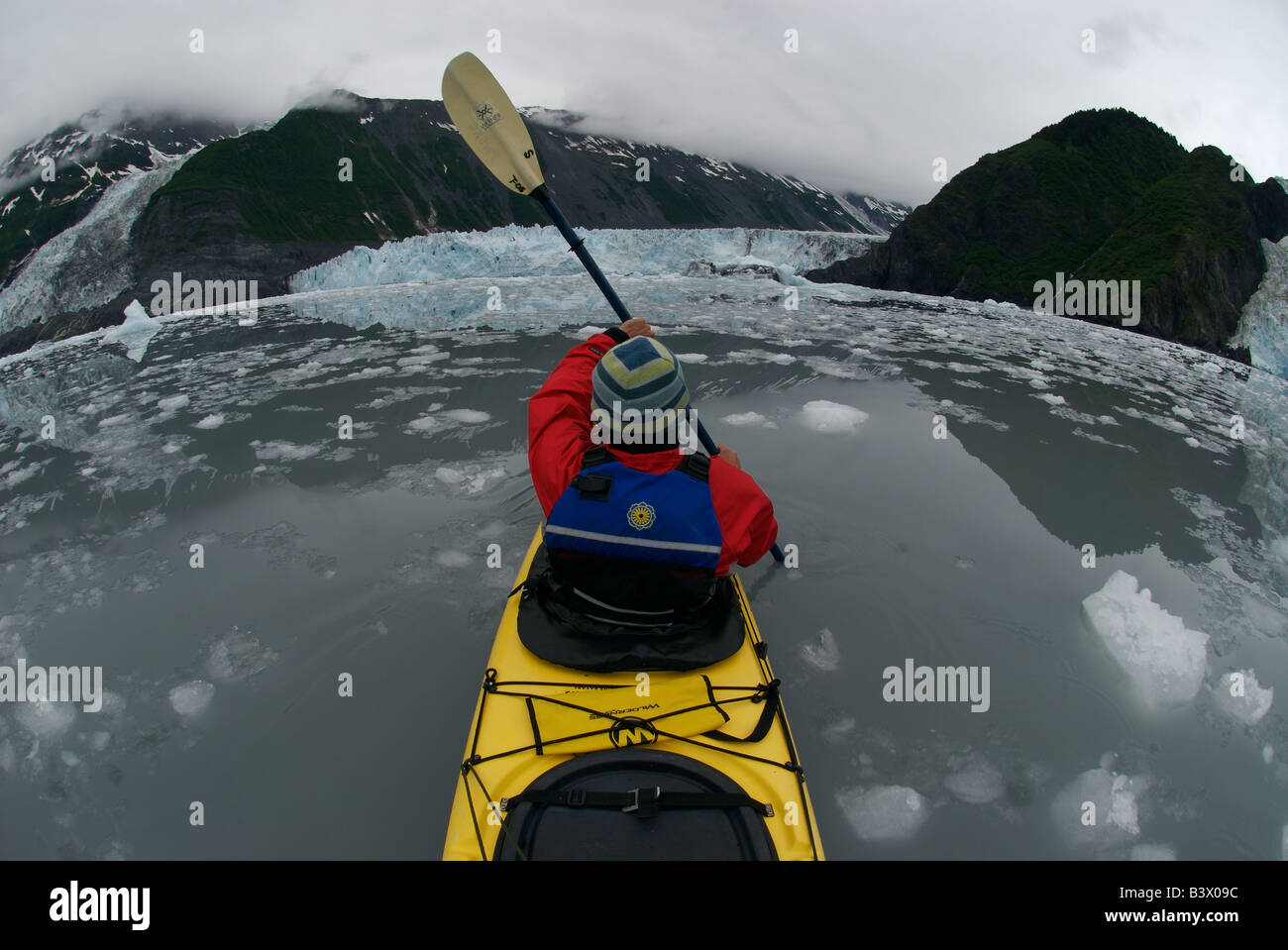 A man sea kayaks trough ice bergs in front of three calving glaciers in the Barry arm in the Prince William Sound, - Stock Image